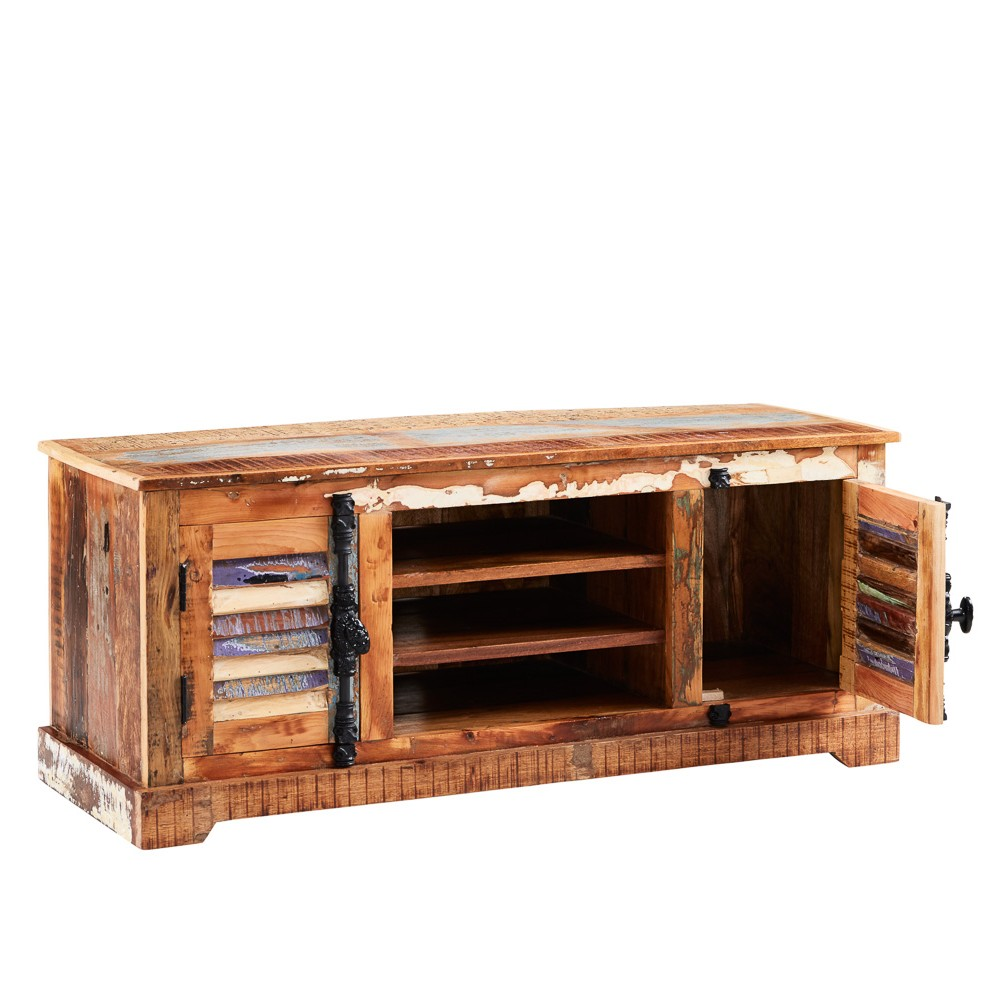 Reclaimed boat tv media unit for Reclaimed wood furniture colorado