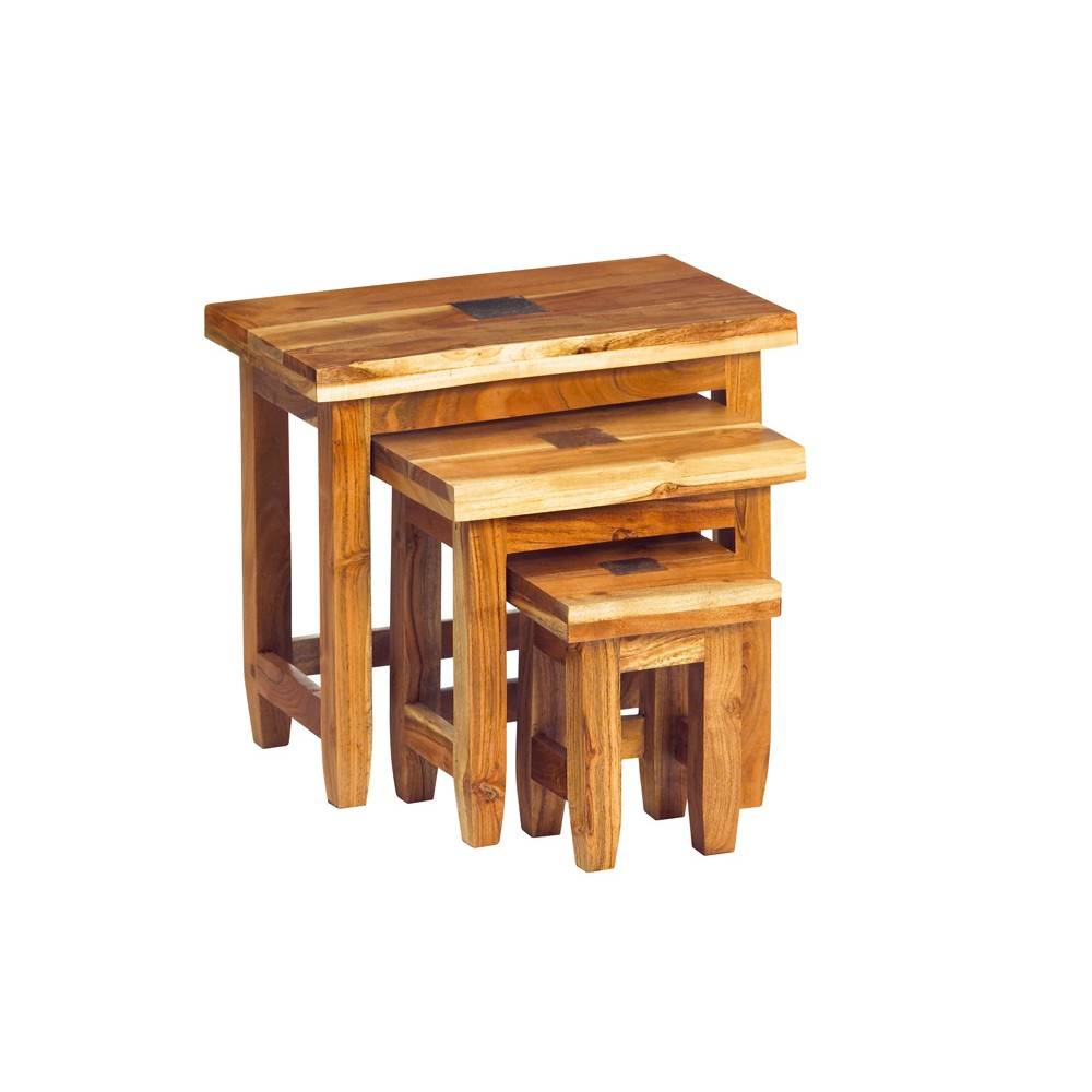 Slate nest of 3 tables verty indian furniture for Indian furniture