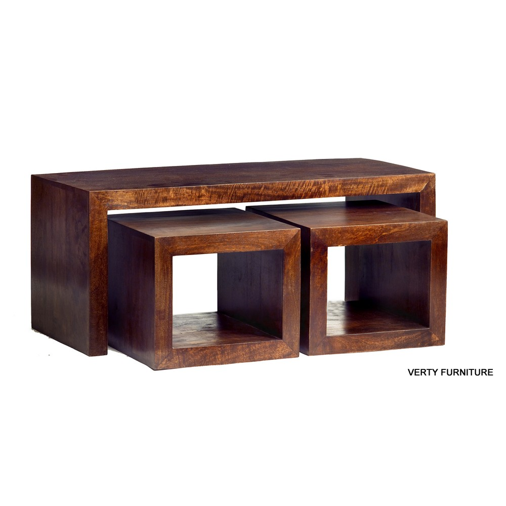 Dakota Mango John Long Cubed Coffee Table Set - Verty Indian Furniture