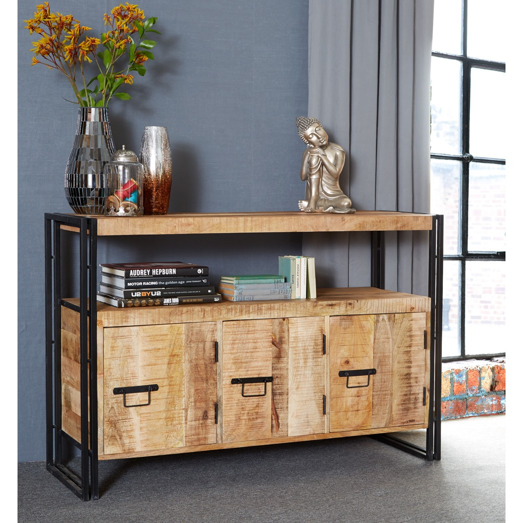 Upcycled Industrial Mintis Sideboard With 3 Drawers