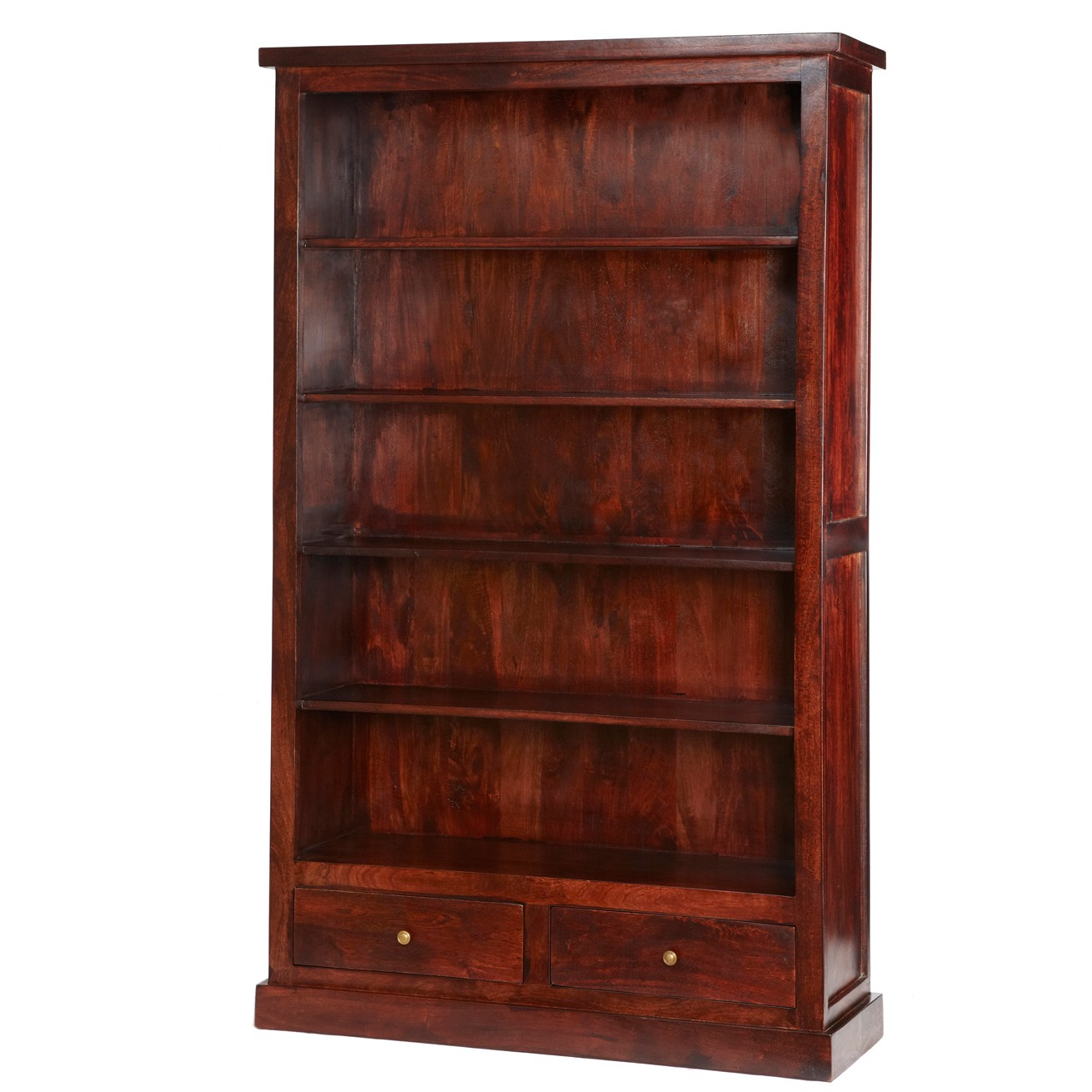 Maharani dark wood large bookcase with drawers for Dark wood furniture