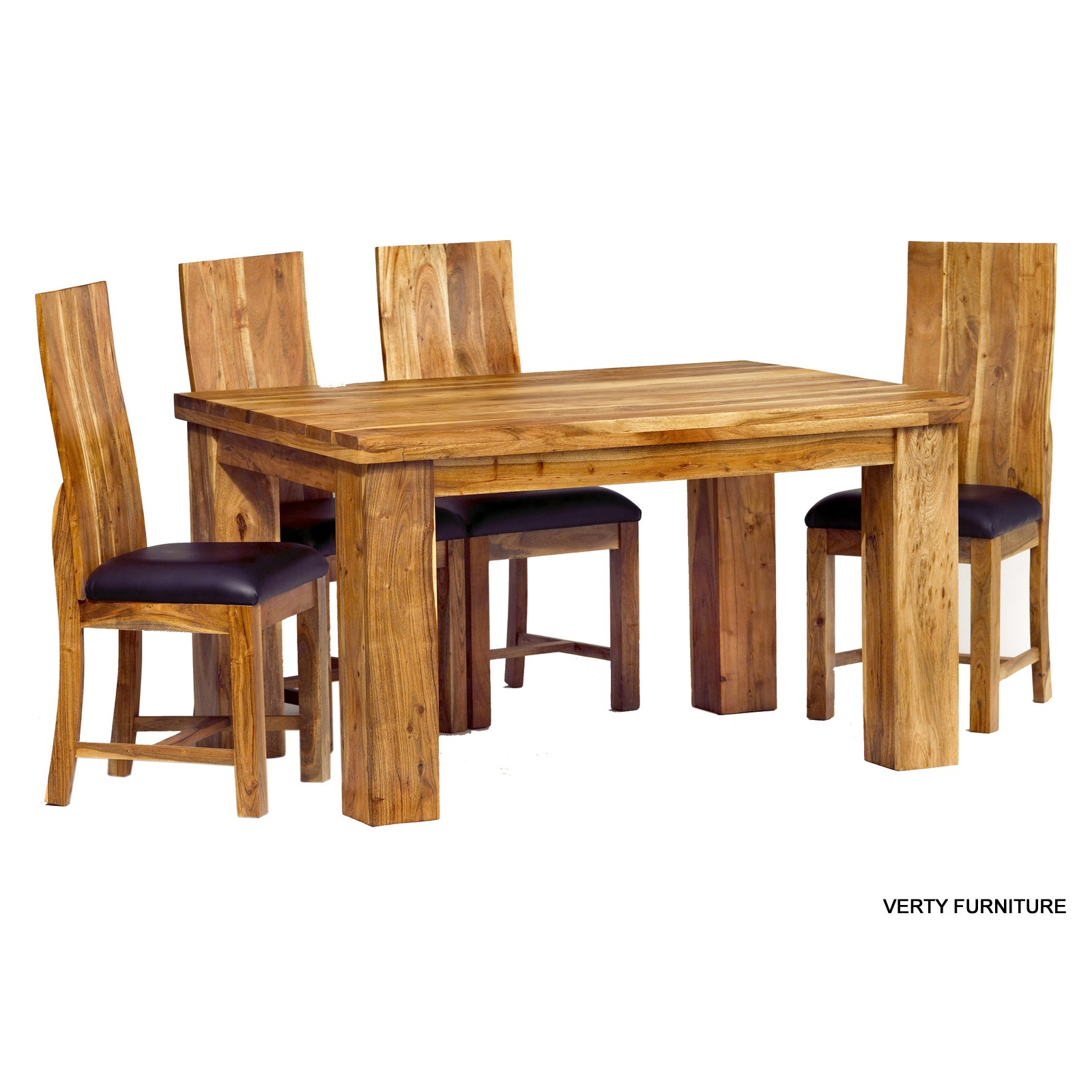 Acacia dining table small with 4 chairs verty indian for Small dining table set for 4