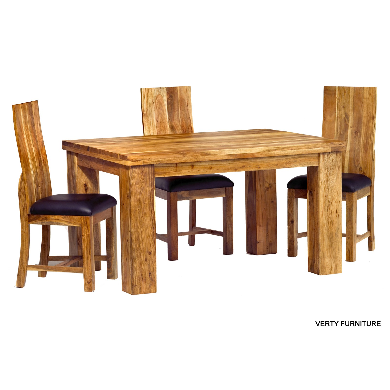 Acacia dining table small with 4 chairs verty indian for Small wood dining table and chairs