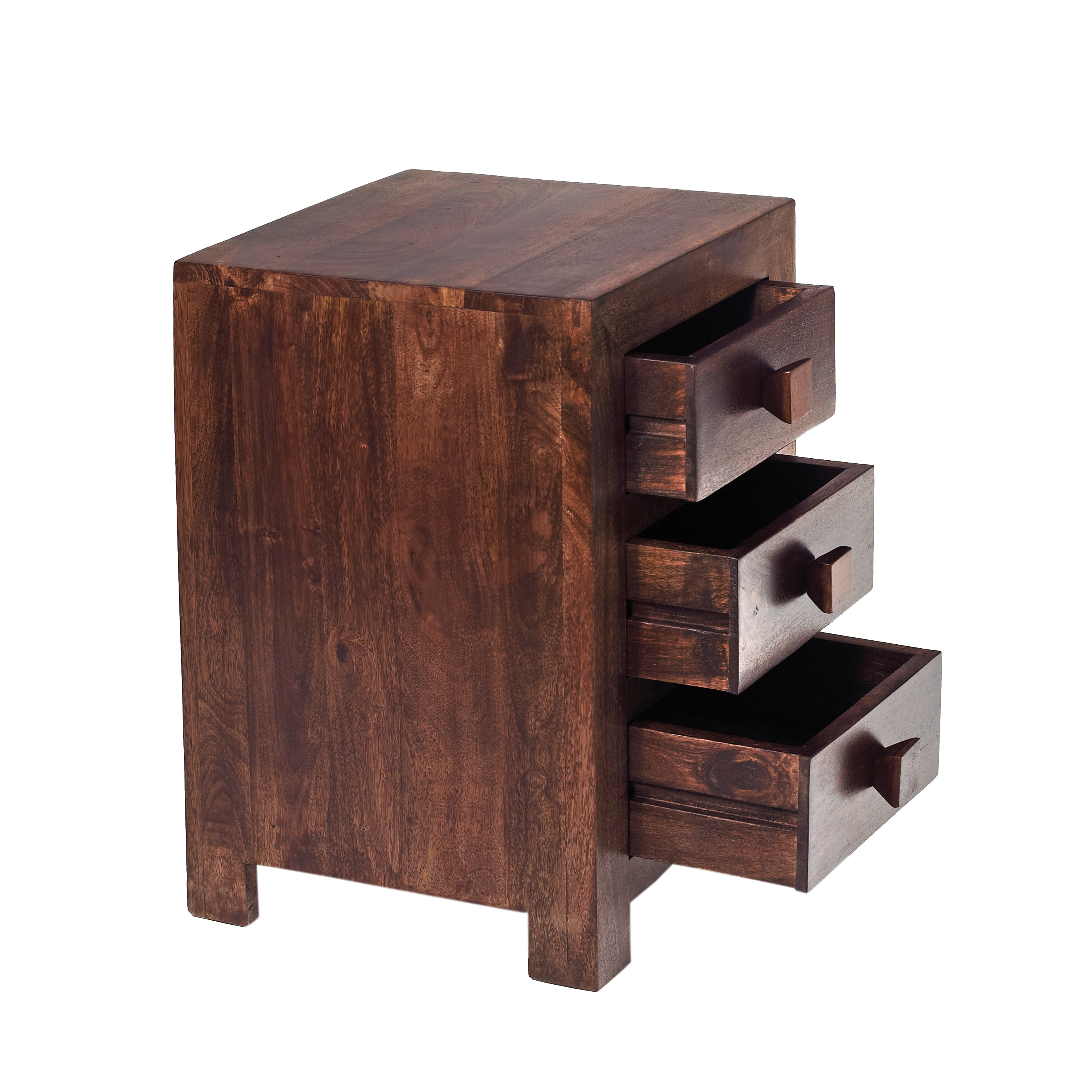 Home Living End Side Tables Dakota Mango 3 Drawer Bedside. Full resolution  picture, nominally Width 2788 Height 2788 pixels, picture with #90543B.