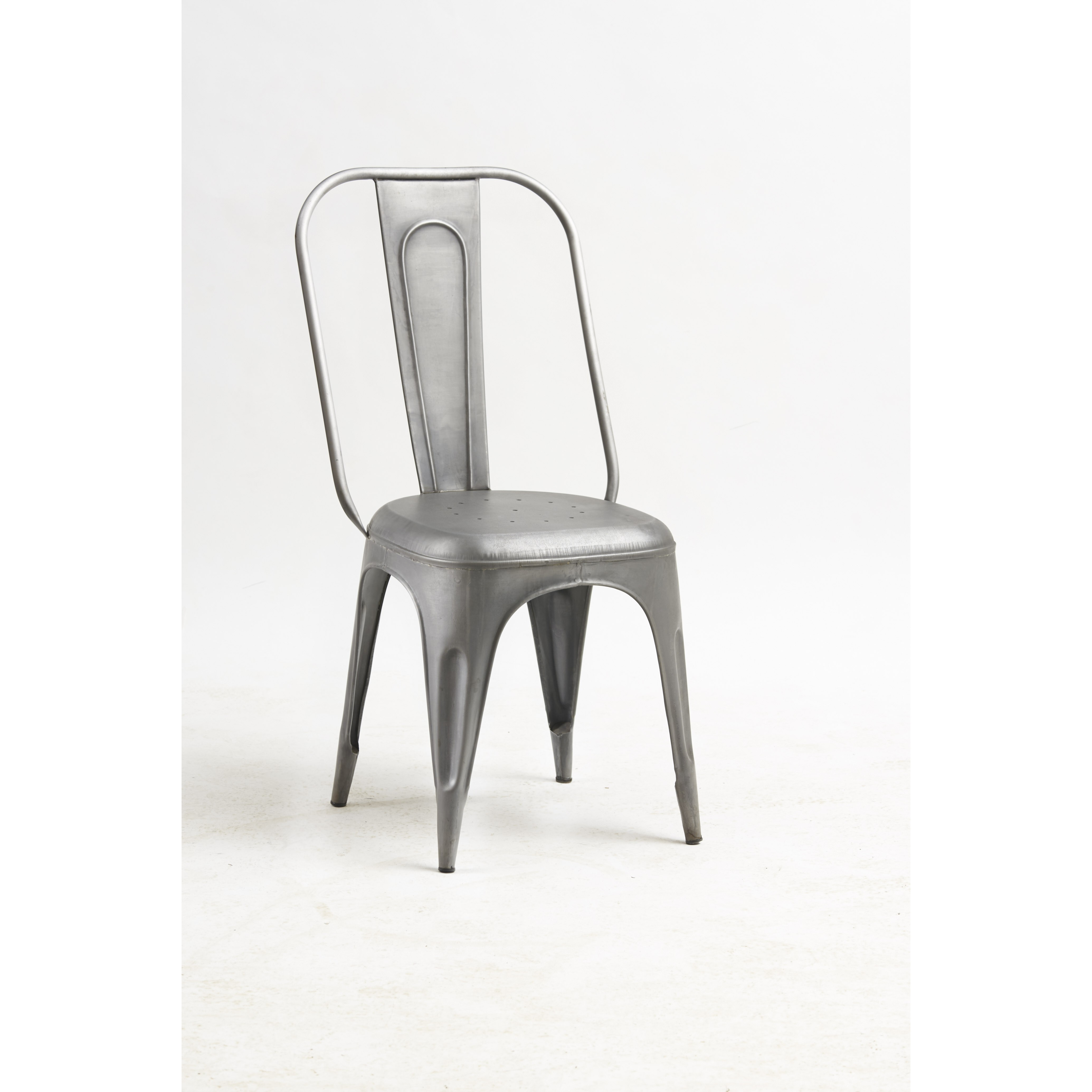 Urban industrial square dining table with metal grey chairs for Steel chairs for dining table
