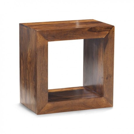 Cube Sheesham Bookcase - Single Hole