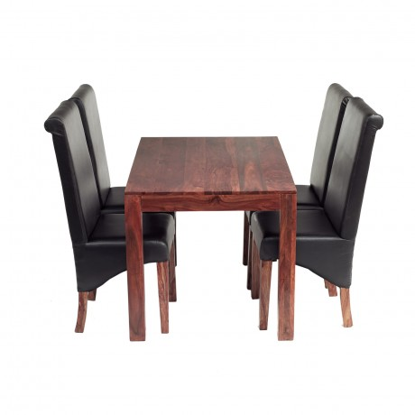 Cube Sheesham 4 Ft Dining Set with Leather Chairs