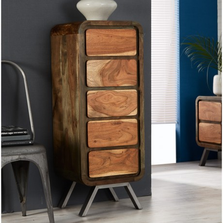 Retro Metal & Wood Tallboy Chest