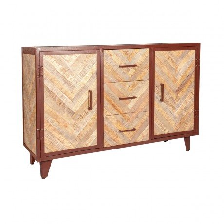 V Design Industrial Large Sideboard with 3 Drawers