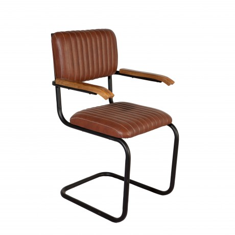 Industrial Chairs Black Metal and Brown Leather