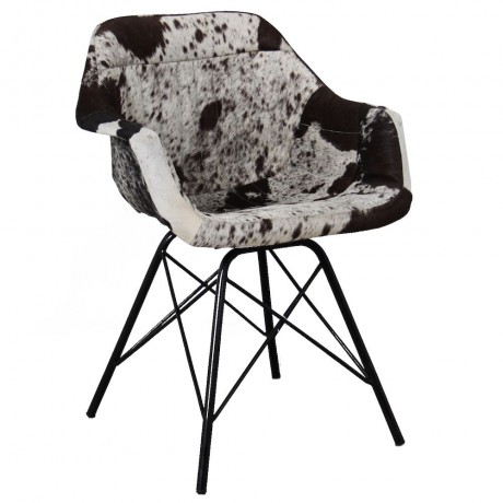 Industrial Style Wide Seat Dining Chair Covered in Cowhide Leather