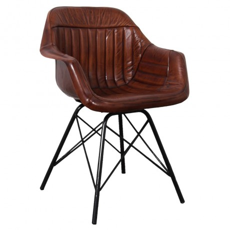 Industrial Style Wide Seat Dining Chair Covered in Brown Leather