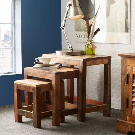 Reclaimed Boat Nests of 3 Stools