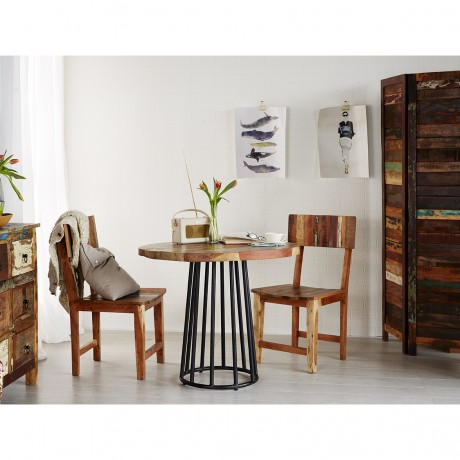 Reclaimed Boat Small Dining Table Set with 2 Chairs