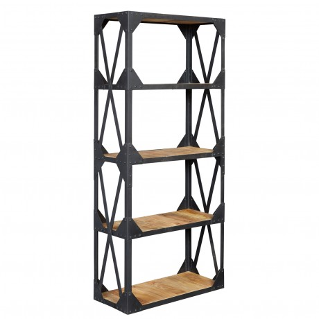Vintage Industrial Metal and Wood Large Bookcase