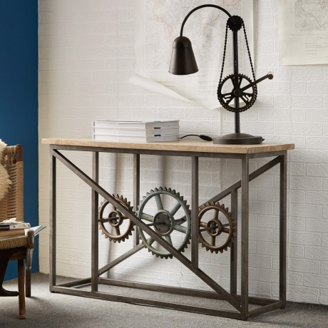 Urban Industrial Console Table with Wheels