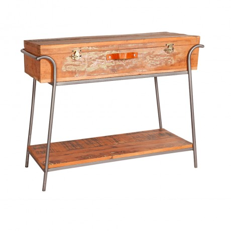 Reclaimed Box Console Table Metal and Wood