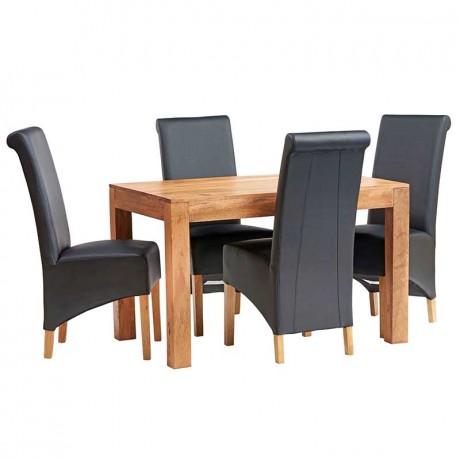 Dakota Light Mango 4 FT Dining Set with Leather Chairs