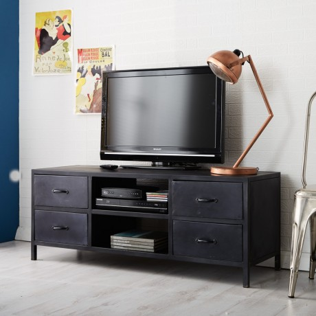 Henry Dark Metal TV Media Unit