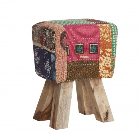 Solid Wooden Legs Stool with Multi fabric and Multicoloured Seat