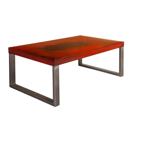 Industrial Design with Distress Finish Metal Coffee Table - Red