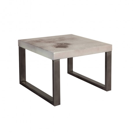 Industrial Design with Distress Finish Coffee Table - White