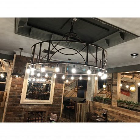 Industrial Ring Pendant Light 20 Bulbs