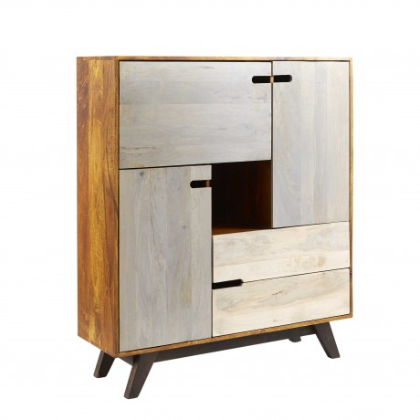 Solid Wood Bookcase Cabinet Retro Trio