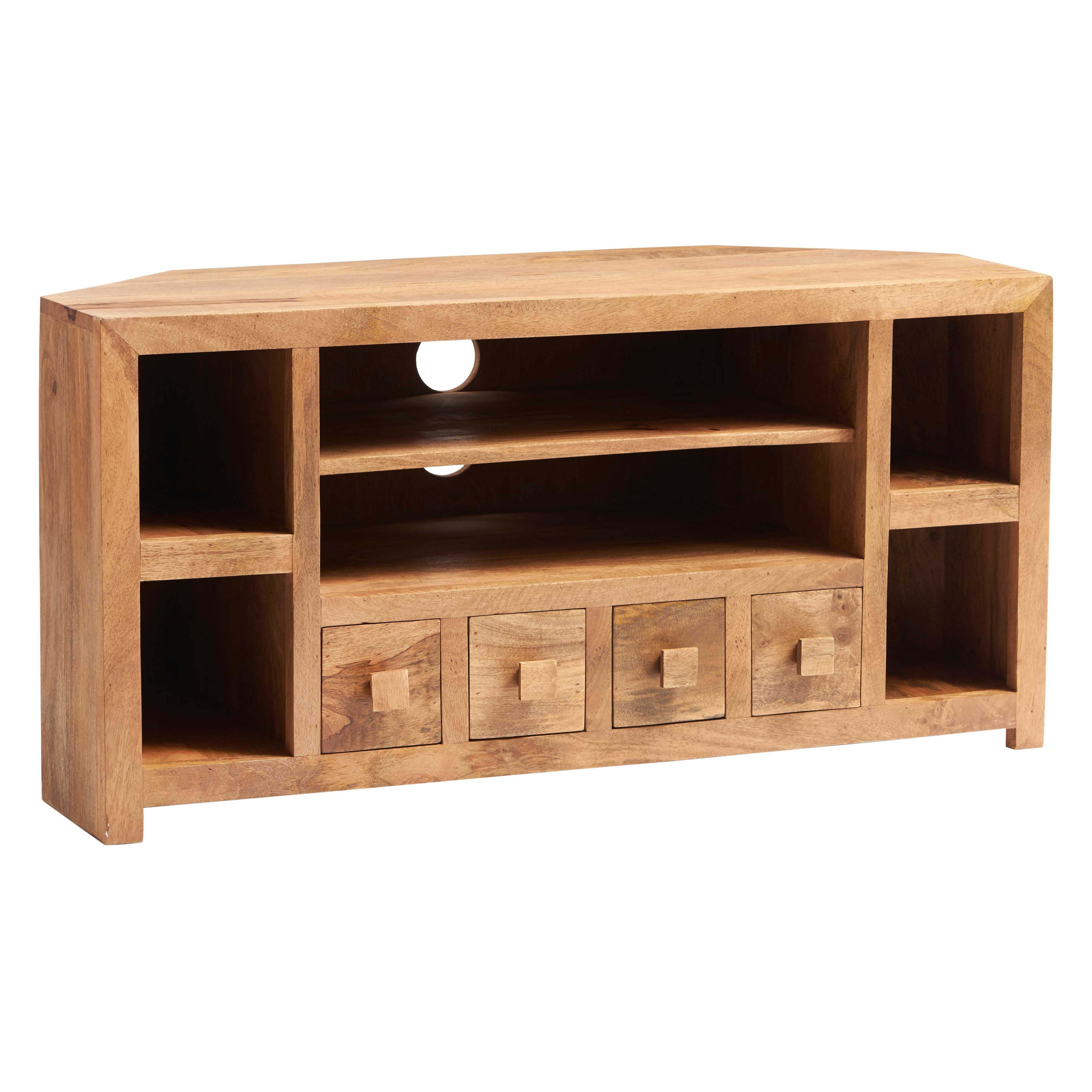 tv oak solid shelf lyon corner unit