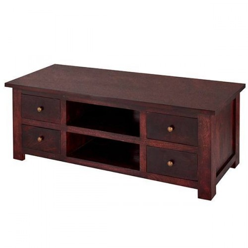 Maharani Dark Wood Tv Cabinet With Drawers