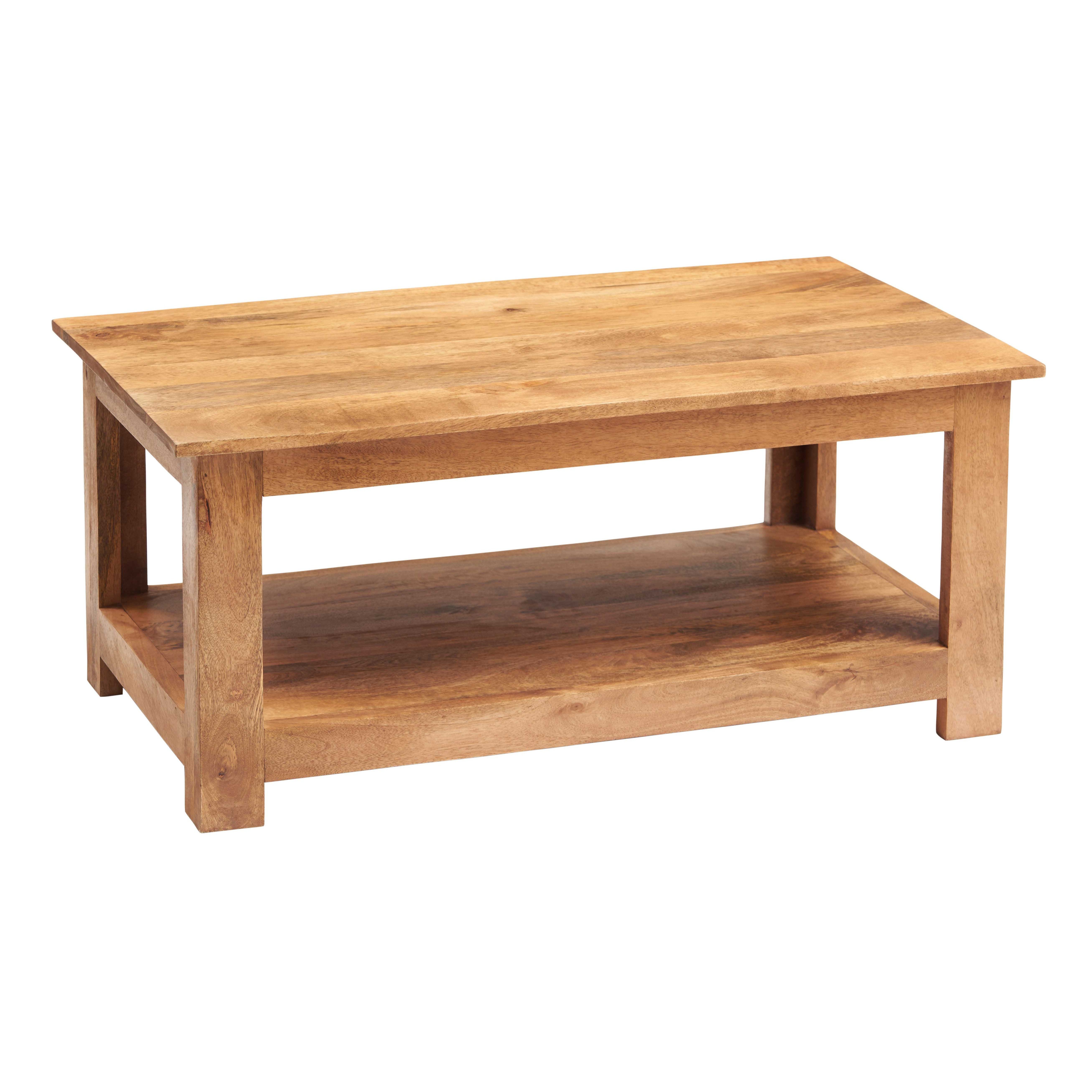 Dakota Light Mango Coffee Table With Shelf