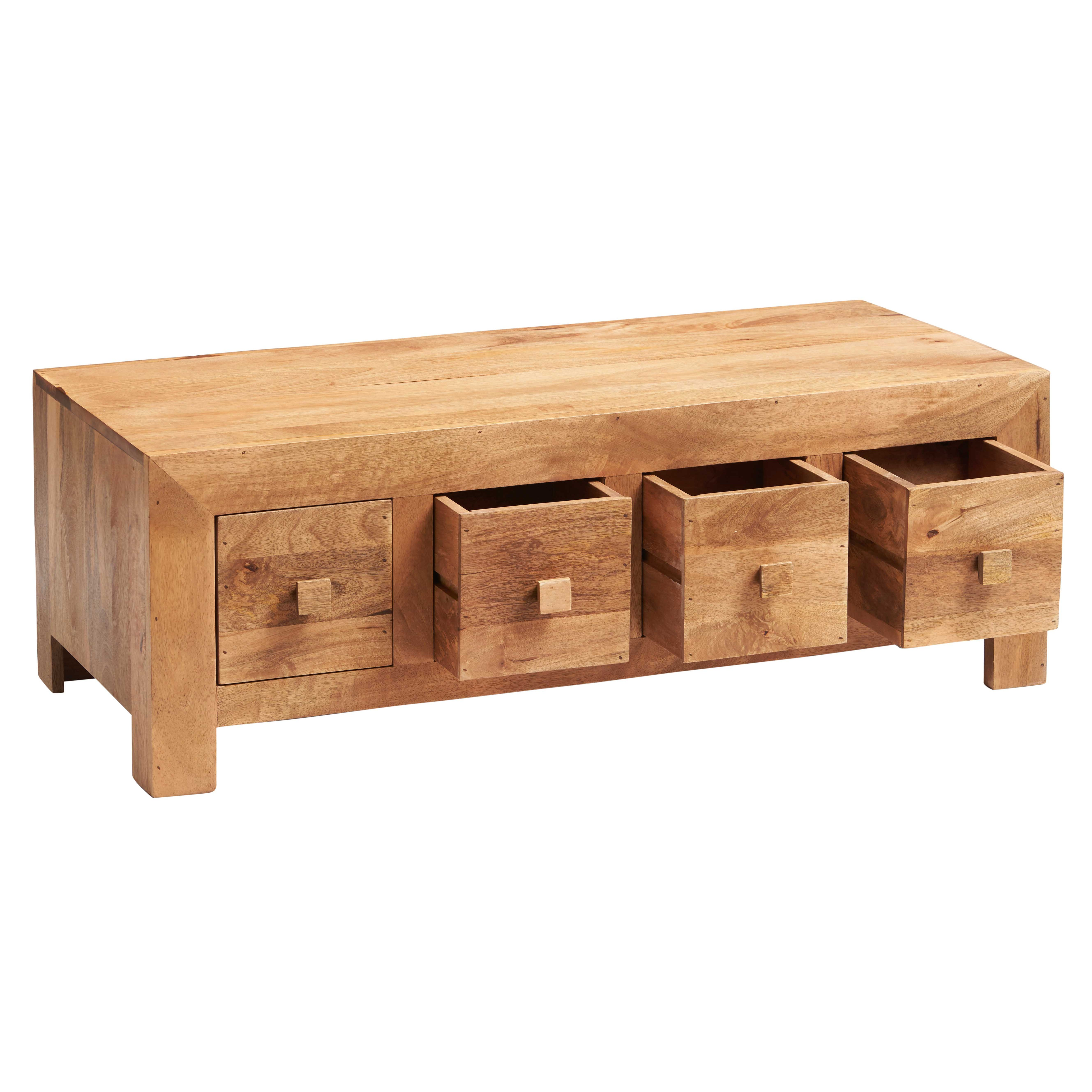 Dakota Light Mango 8 Drawer Coffee Table