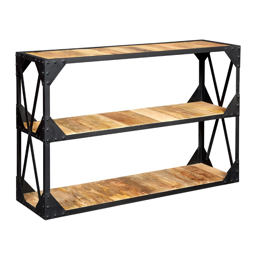 vintage industrial metal and wood tv stand console table. Black Bedroom Furniture Sets. Home Design Ideas