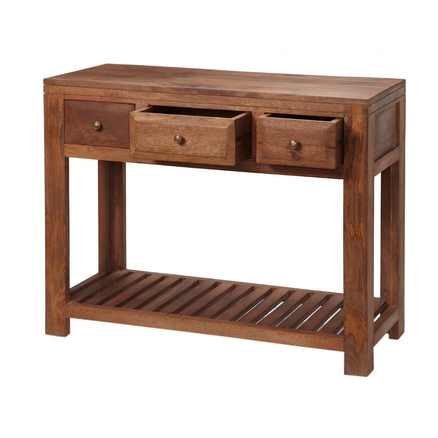 Alwar mango light solid wood console table with drawers for Solid wood furniture