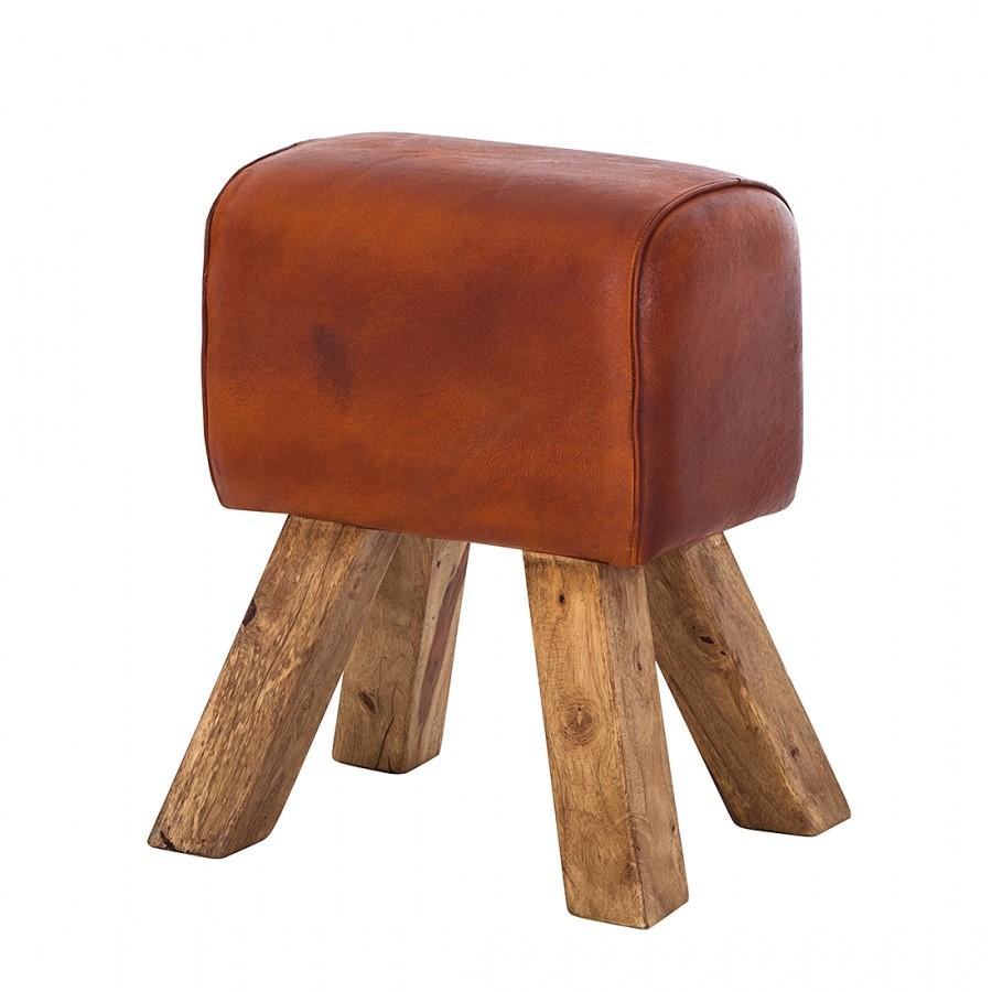 Stool turn buck genuine leather for Couch hocker