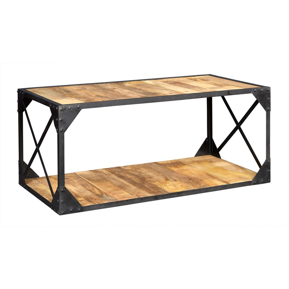 Vintage up cycled industrial coffee table with shelf metal and wood Coffee table with shelf