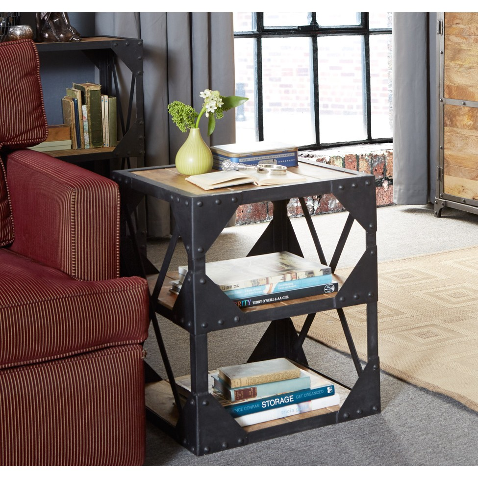 Vintage Industrial Two Shelf Metal And Wood Table