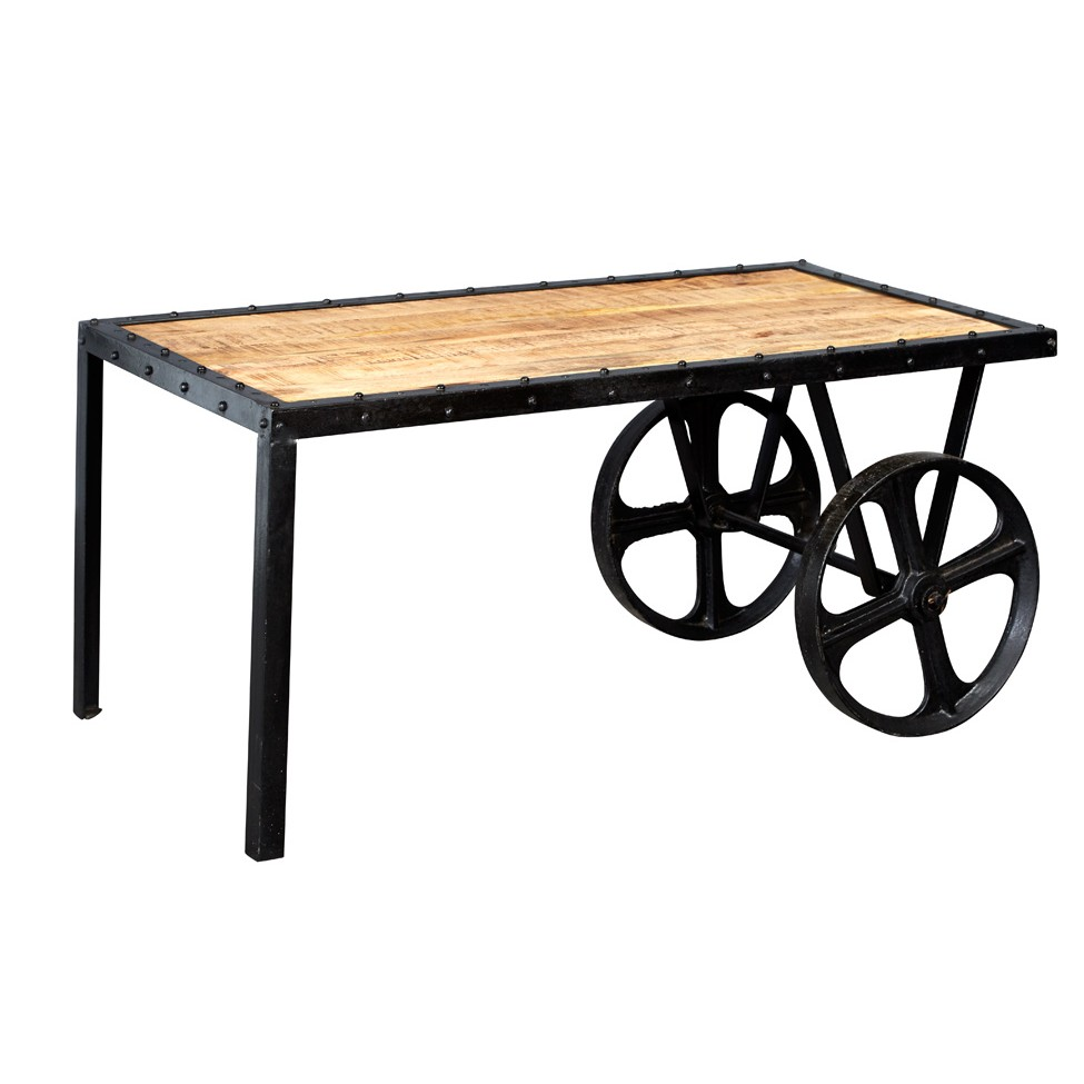 Vintage Industrial Cart Coffee Table: Upcycled Industrial Vintage Mintis Cart Coffee Table