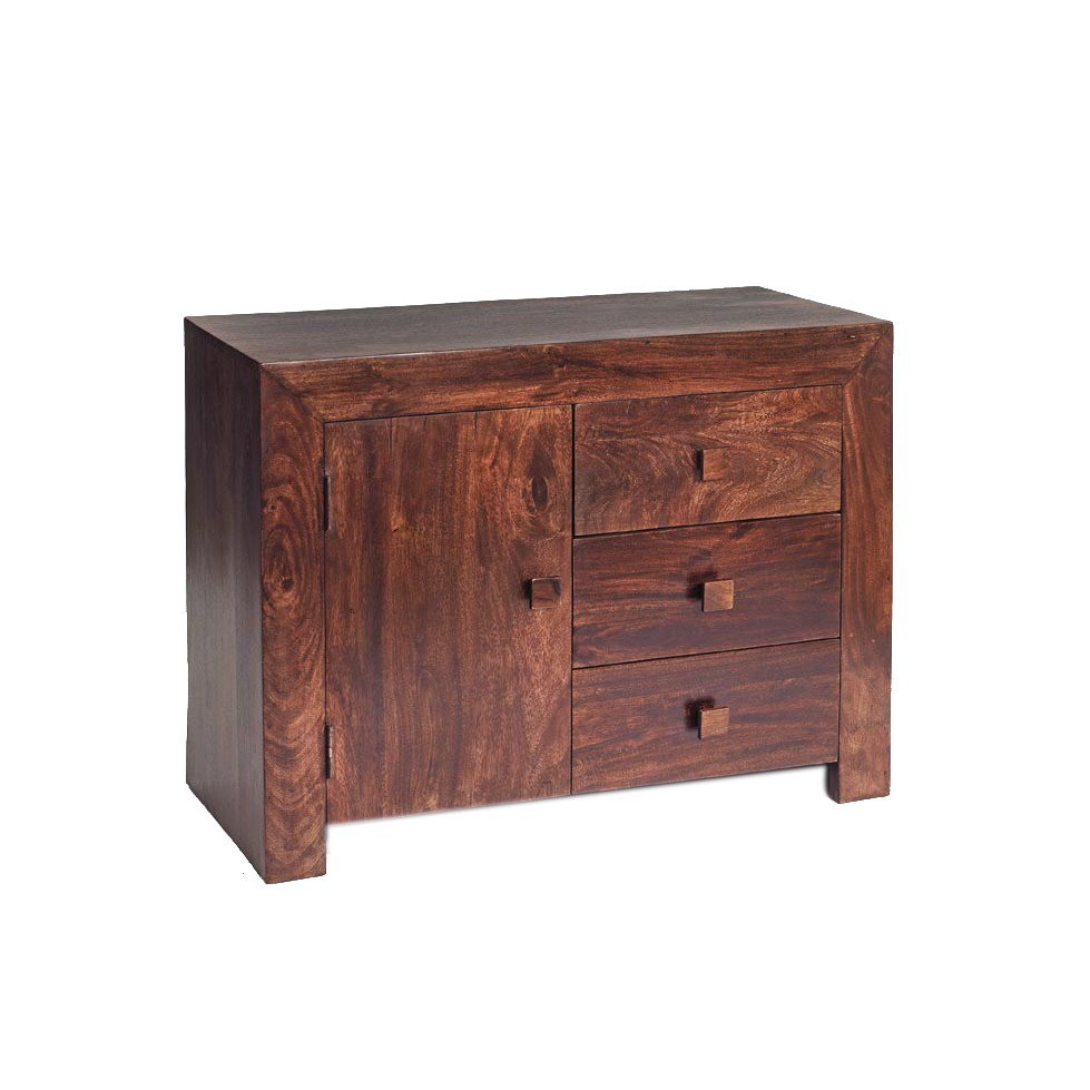 Dakota mango sideboard 3 drawers 1 door verty indian for Sideboard 2 m lang
