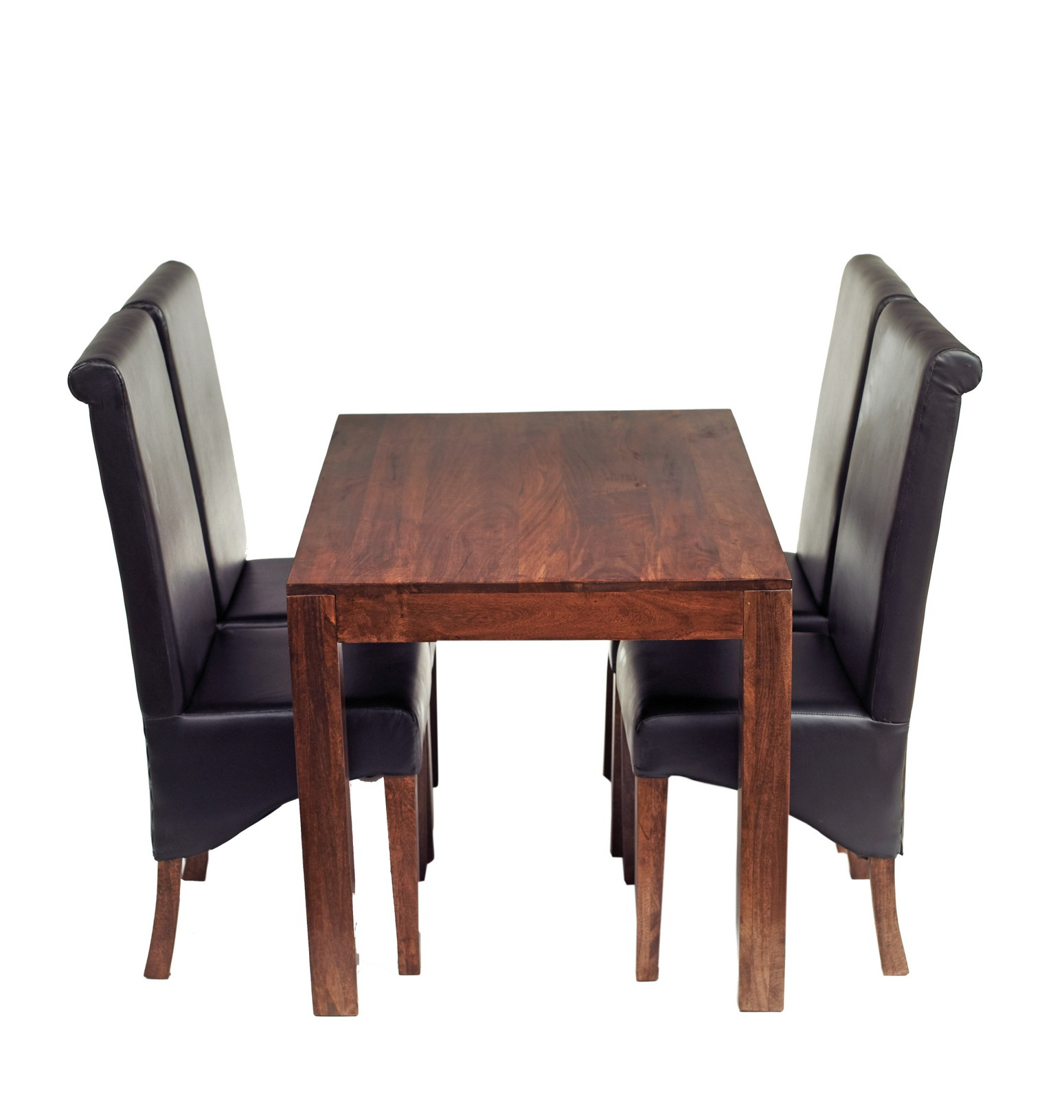 Dakota Mango 4 Ft Dining Set With Leather Chairs Verty