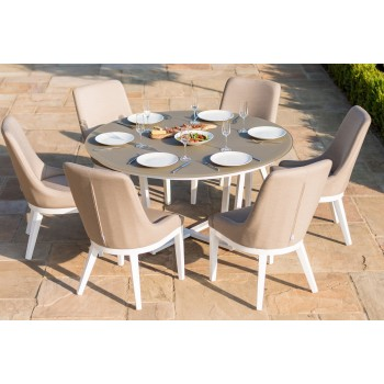 Maui 6 Seat Round Dining Set (white frame) / Taupe