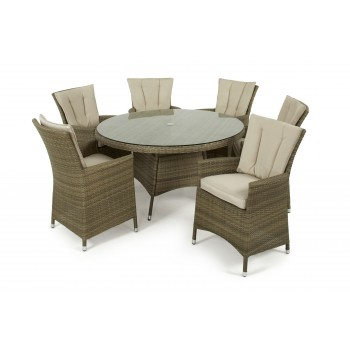 Napa 6 Seat Round Dining Set / Natural