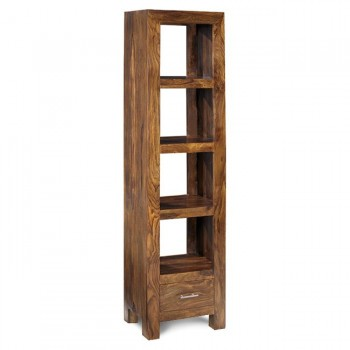 Cube Indian Wood Bookcase - Slim Jim