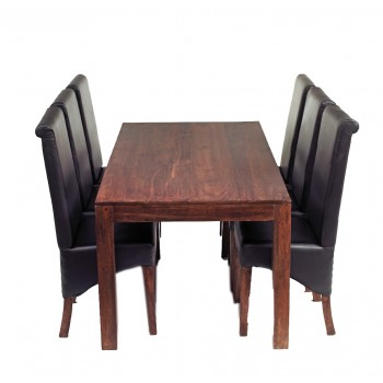Dakota Mango 6 Ft Dining Set with leather Chairs