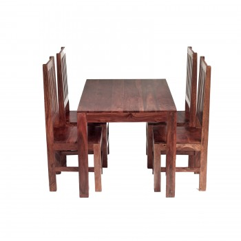 Cube Sheesham 4 Ft Dining Set with Wooden Chairs