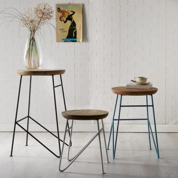 Retro Metal & Wood Round Set of 3 Stools