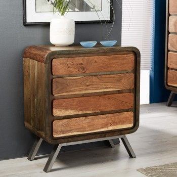 Retro Metal & Wood 4 Drawer Chest