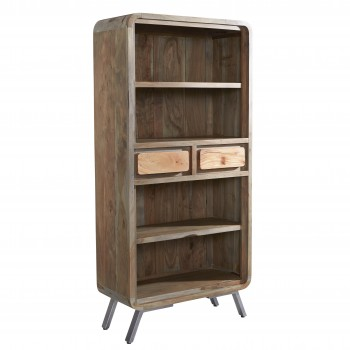 Retro Wood & Metal Wide Bookcase