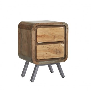 Retro Metal & Wood 2 Drawer Lamp Table