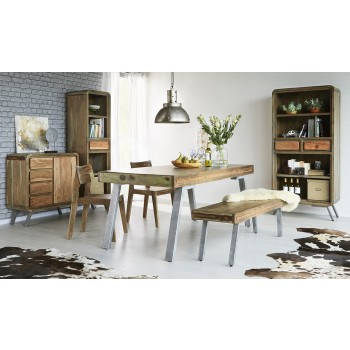 Retro Wood & Metal Medium Dining Table